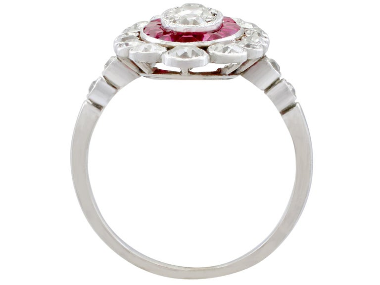Antique 1.60 Carat Diamond and Ruby Platinum Cluster Ring For Sale 1