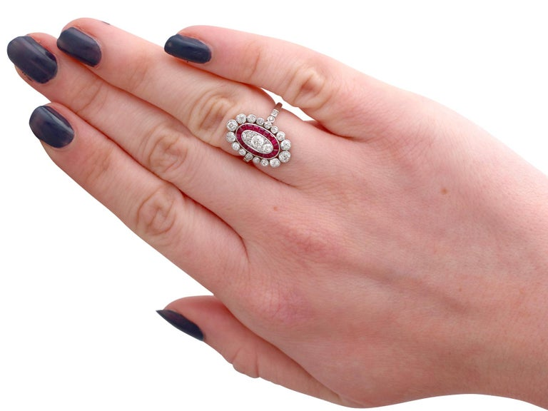 Antique 1.60 Carat Diamond and Ruby Platinum Cluster Ring For Sale 3