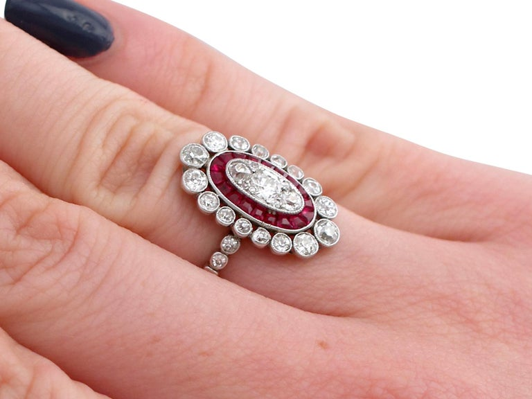 Antique 1.60 Carat Diamond and Ruby Platinum Cluster Ring For Sale 4