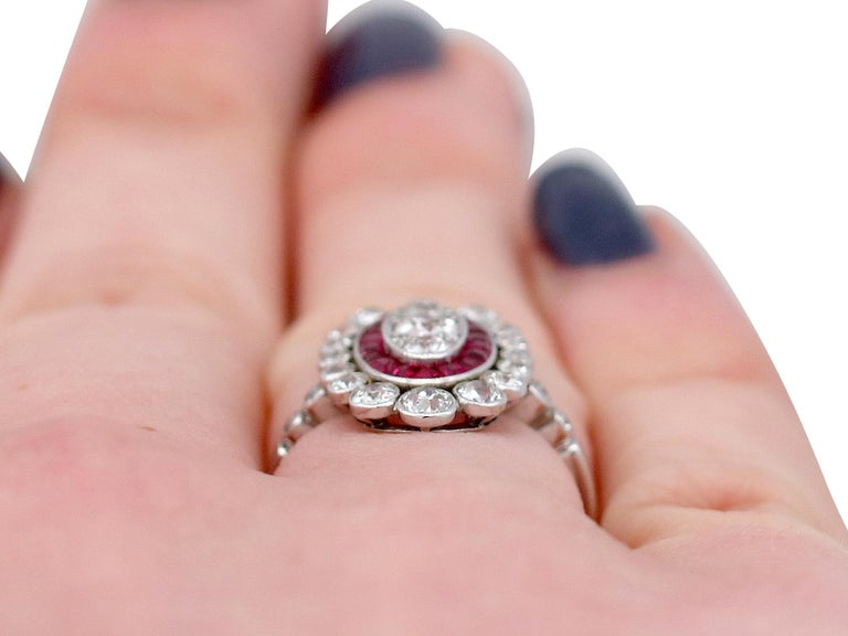 Antique 1.60 Carat Diamond and Ruby Platinum Cluster Ring For Sale 5