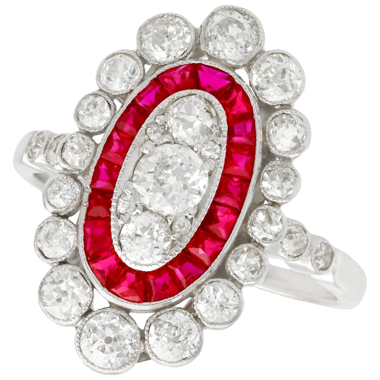 Antique 1.60 Carat Diamond and Ruby Platinum Cluster Ring