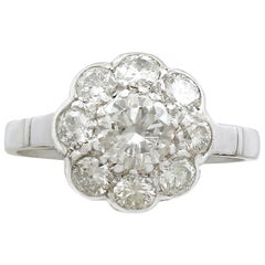 Antique 1.61 Carat Diamond and Platinum Cluster Ring, circa 1930