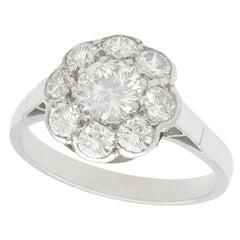 Antique 1.61 Carat Diamond and Platinum Cluster Ring, circa 1930