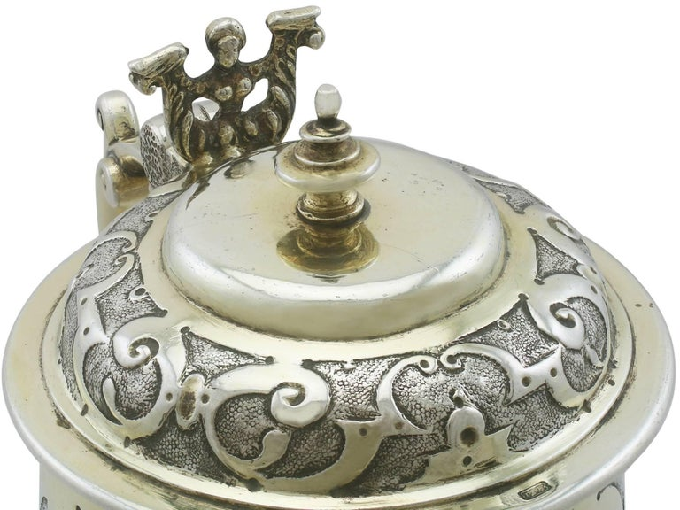 Antique German Silver Tankard In Excellent Condition For Sale In Jesmond, Newcastle Upon Tyne