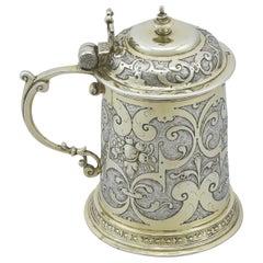 Antique 1610s German Silver Tankard