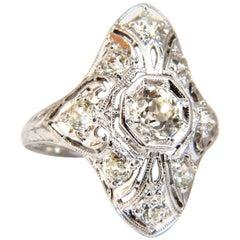 Antique 1.62 Carat Old Mine Round Natural Diamonds Ring Platinum