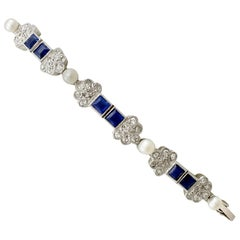 Antique 1.62 Carat Sapphire and Diamond Seed Pearl and White Gold Bracelet
