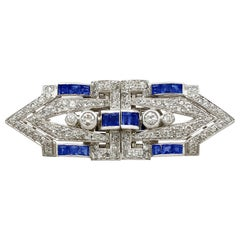 Antique 1.65 Carat Sapphire and 3.16 Carat Diamond White Gold Double Clip Brooch