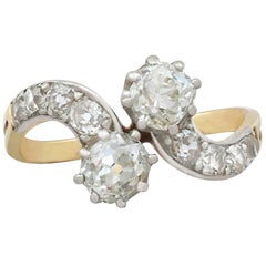 Antique 1.66 Carat Diamond and Yellow Gold Twist Ring