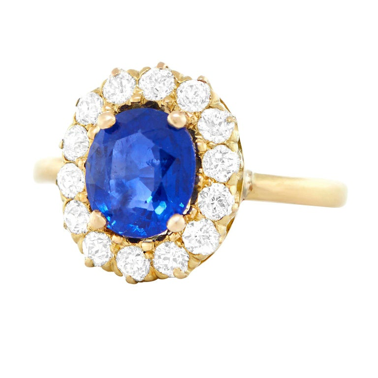Antique 1.66 Carat No-Heat Sapphire and Diamond Gold Ring For Sale