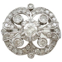 Antique 1.68 Carat Diamond and White Gold Cluster Ring, circa 1930