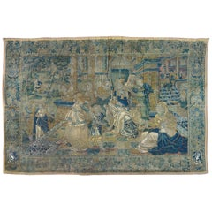 Antique 16th Century Navy Blue and Gold Flemish Renaissance Biblical Tapestry