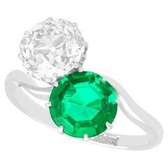 Antique 1.70 Carat Colombian Emerald and 2.18 Carat Diamond Platinum Twist Ring