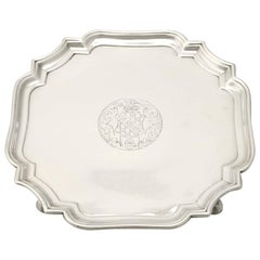 Antique 1700s George II Sterling Silver Salver by Gabriel Sleath