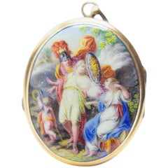 Antique 1700s Gold Miniature Pendant with Greek Mythology Perseus Andromeda