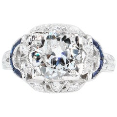Antique 1.71 Carat Old Euro Diamond Sapphire Wedding Platinum Ring EGL, USA