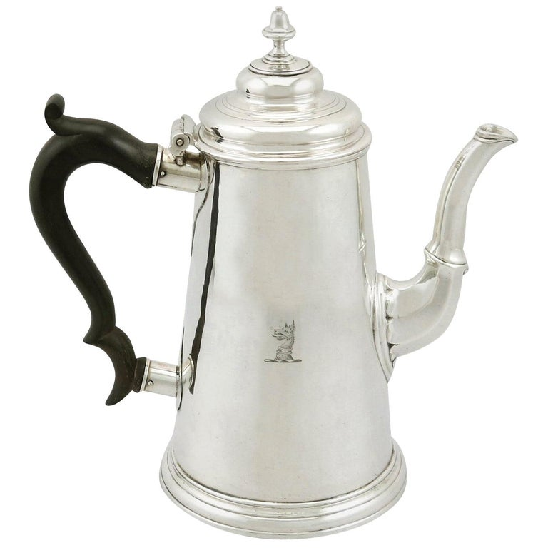 Antique 1730s Newcastle Sterling Silver Chocolate Pot For Sale