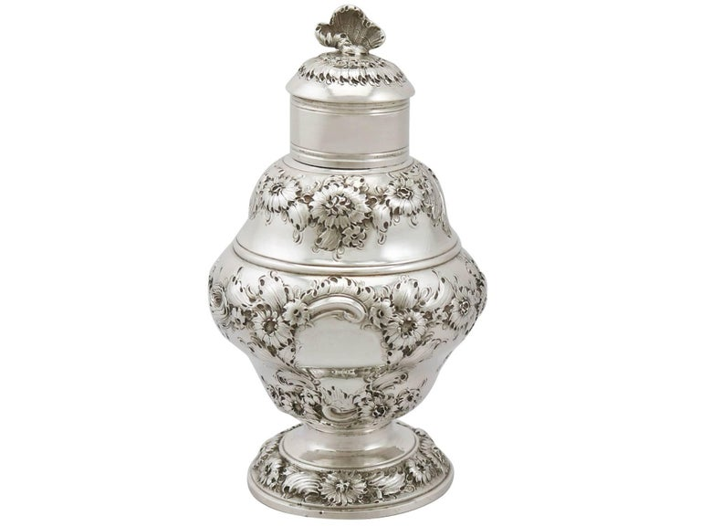 English Antique 1750s Georgian Sterling Silver Set of Two Tea Caddies For Sale