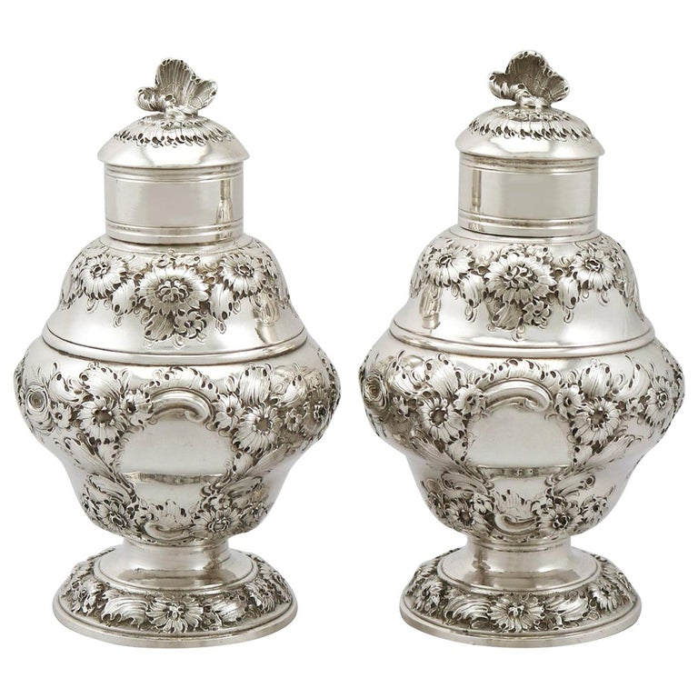 Antique 1750s Georgian Sterling Silver Set of Two Tea Caddies For Sale