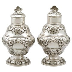 Antique 1750s Georgian Sterling Silver Set of Two Tea Caddies
