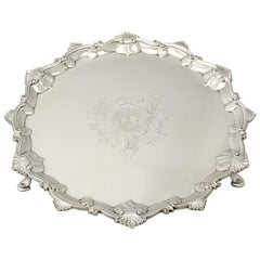Antique 1765 Georgian Sterling Silver Salver by Thomas Hannam & John Crouch II