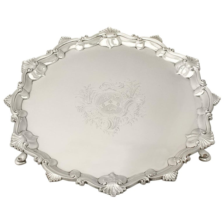 Antique 1765 Georgian Sterling Silver Salver by Thomas Hannam & John Crouch II For Sale