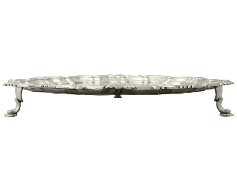 George III Antique 1765 Georgian Sterling Silver Salver by Thomas Hannam & John Crouch II For Sale