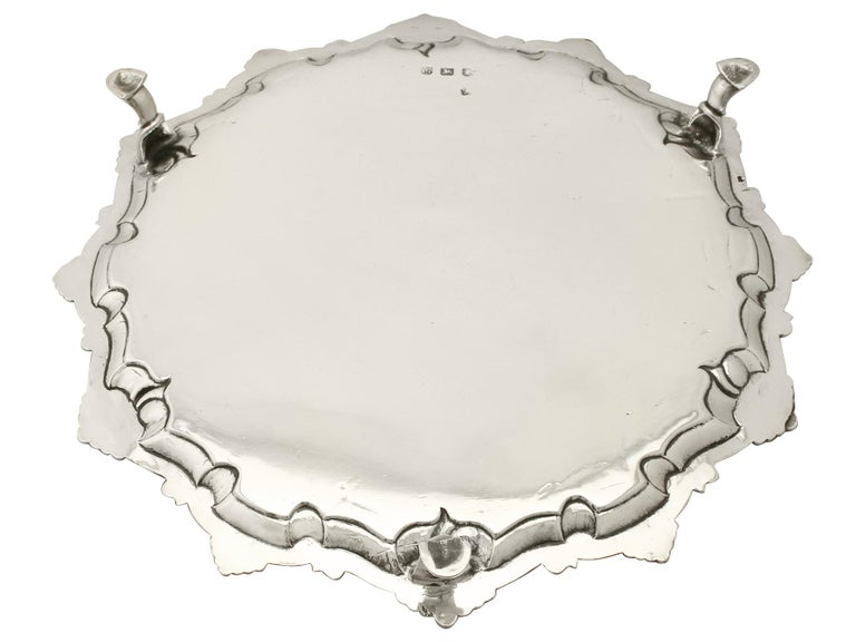 Antique 1765 Georgian Sterling Silver Salver by Thomas Hannam & John Crouch II For Sale 2