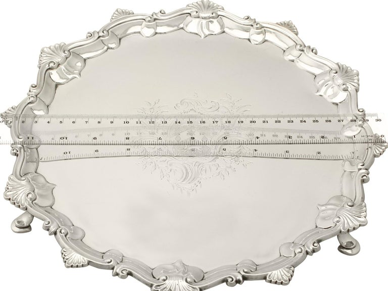Antique 1765 Georgian Sterling Silver Salver by Thomas Hannam & John Crouch II For Sale 3