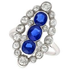 Antique 1.77 Carat Sapphire 1.86 Carat Diamond Platinum Marquise Cocktail Ring