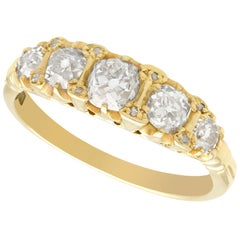 Antique 1.78 Carat Diamond and Yellow Gold Five-Stone Ring