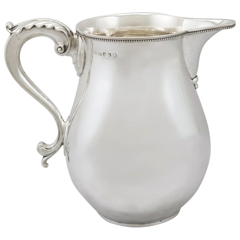 Antique 1780s Sterling Silver Beer or Water Jug by Thomas Chawner For Sale
