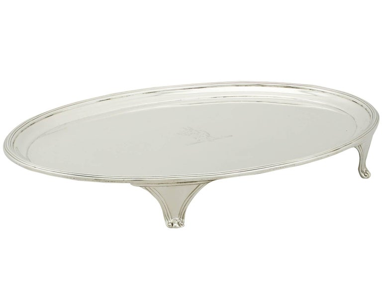 George III Antique 1793 Sterling Silver Salver by Henry Chawner For Sale
