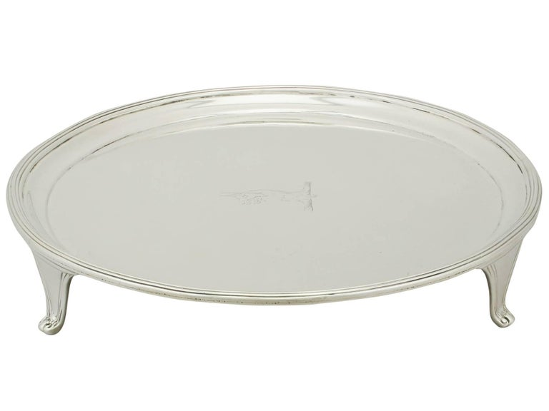 English Antique 1793 Sterling Silver Salver by Henry Chawner For Sale