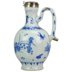 Antique 17th Century Chinese Porcelain Jug Ewer Transitional Chongzhen Flowers