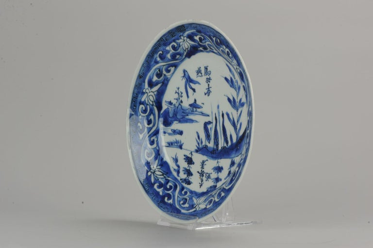 Antique Chinese Porcelain Ming Ducks in Landscape China Plate Calligraphy In Good Condition For Sale In Amsterdam, Noord Holland