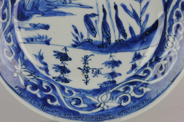 Antique Chinese Porcelain Ming Ducks in Landscape China Plate Calligraphy For Sale 5