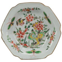 Antique 17C Porcelain Late Ming Transitional Enameled Famille Verte Plate Ma