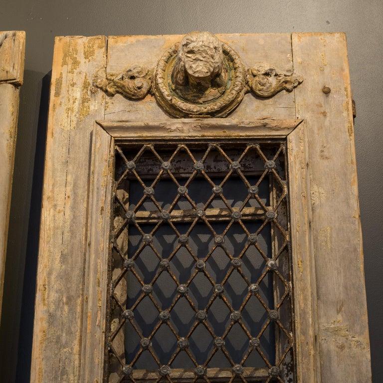 Antique 17th Century Wood and Bronze Italian Doors, circa 1600s For Sale 1