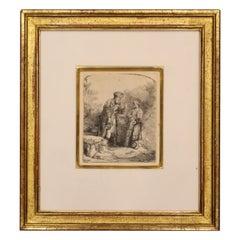 Antique 17th Century Rembrandt Van Rijn Abraham & Isaac Etching Drypoint Framed