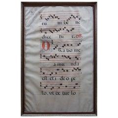 Antique 17th Century Antiphonal Religious Sheet Music Roman Catholic Vellum
