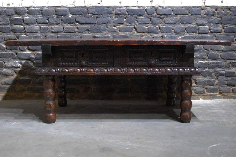Forged Antique 17th Century Baroque Spanish Walnut Coffee Table with Two Drawers For Sale