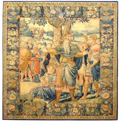 Antique 17th Century Brussels Old Testament Biblical Isaac Jacob & Esau Tapestry