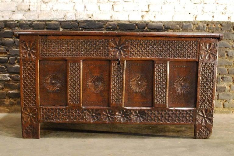 Forged Antique 17th Century Carved Oak Dutch Renaissance Maids Chest For Sale