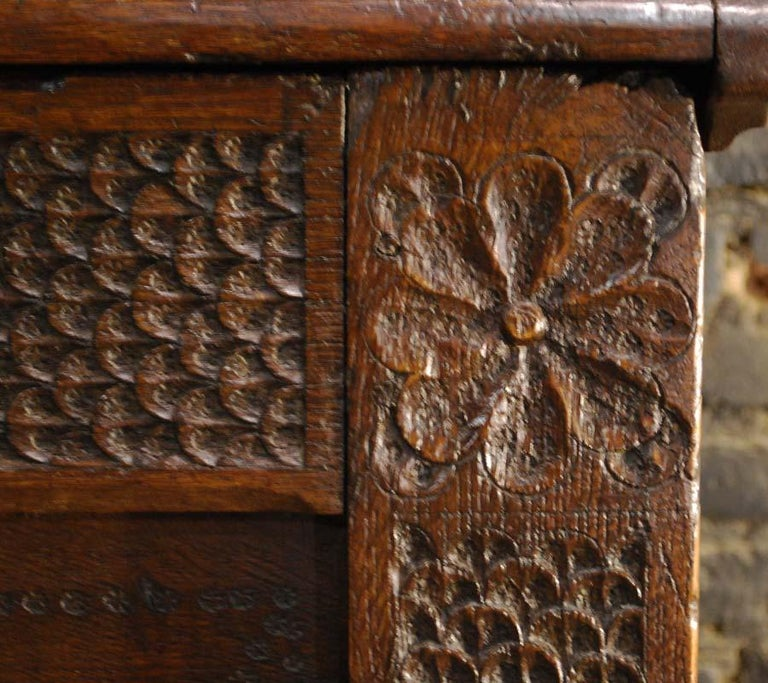 Antique 17th Century Carved Oak Dutch Renaissance Maids Chest For Sale 5