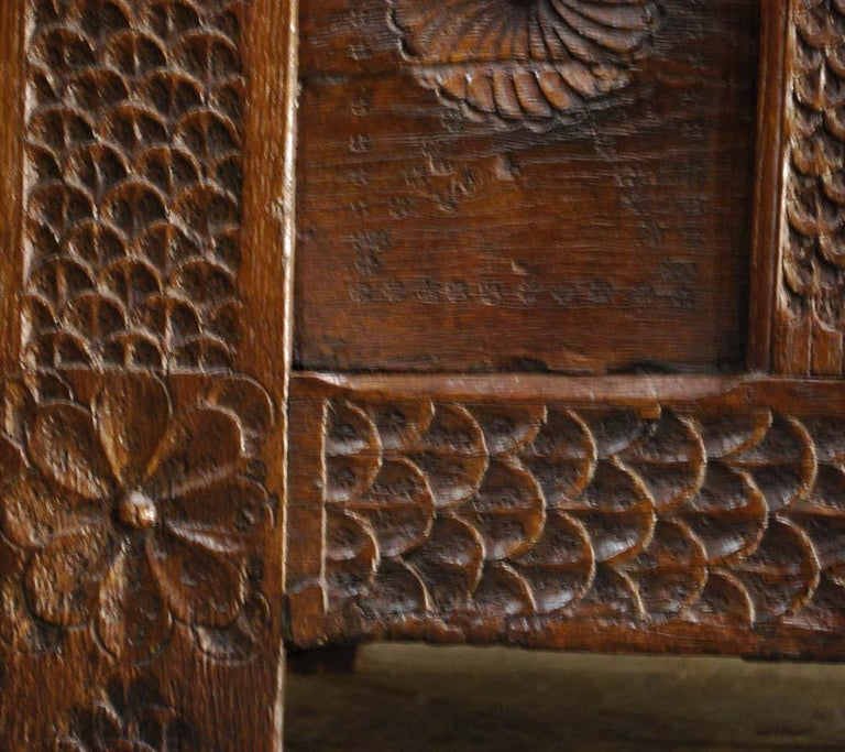 Antique 17th Century Carved Oak Dutch Renaissance Maids Chest For Sale 6