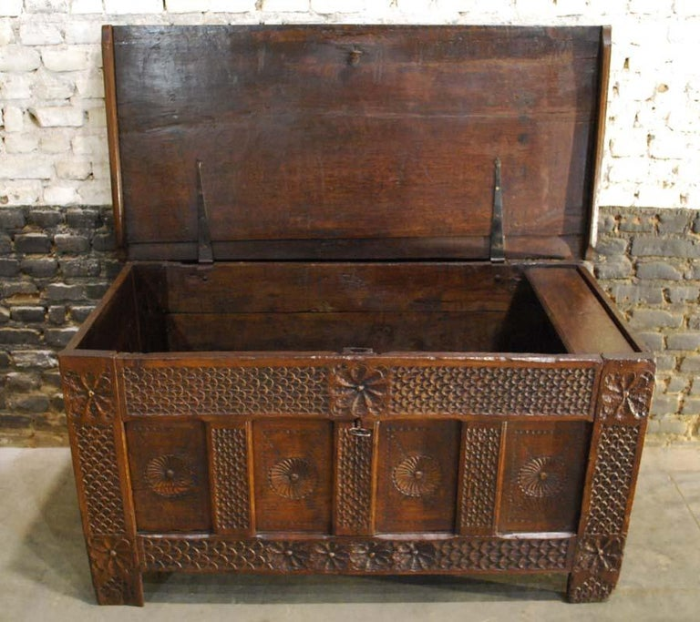 Iron Antique 17th Century Carved Oak Dutch Renaissance Maids Chest For Sale