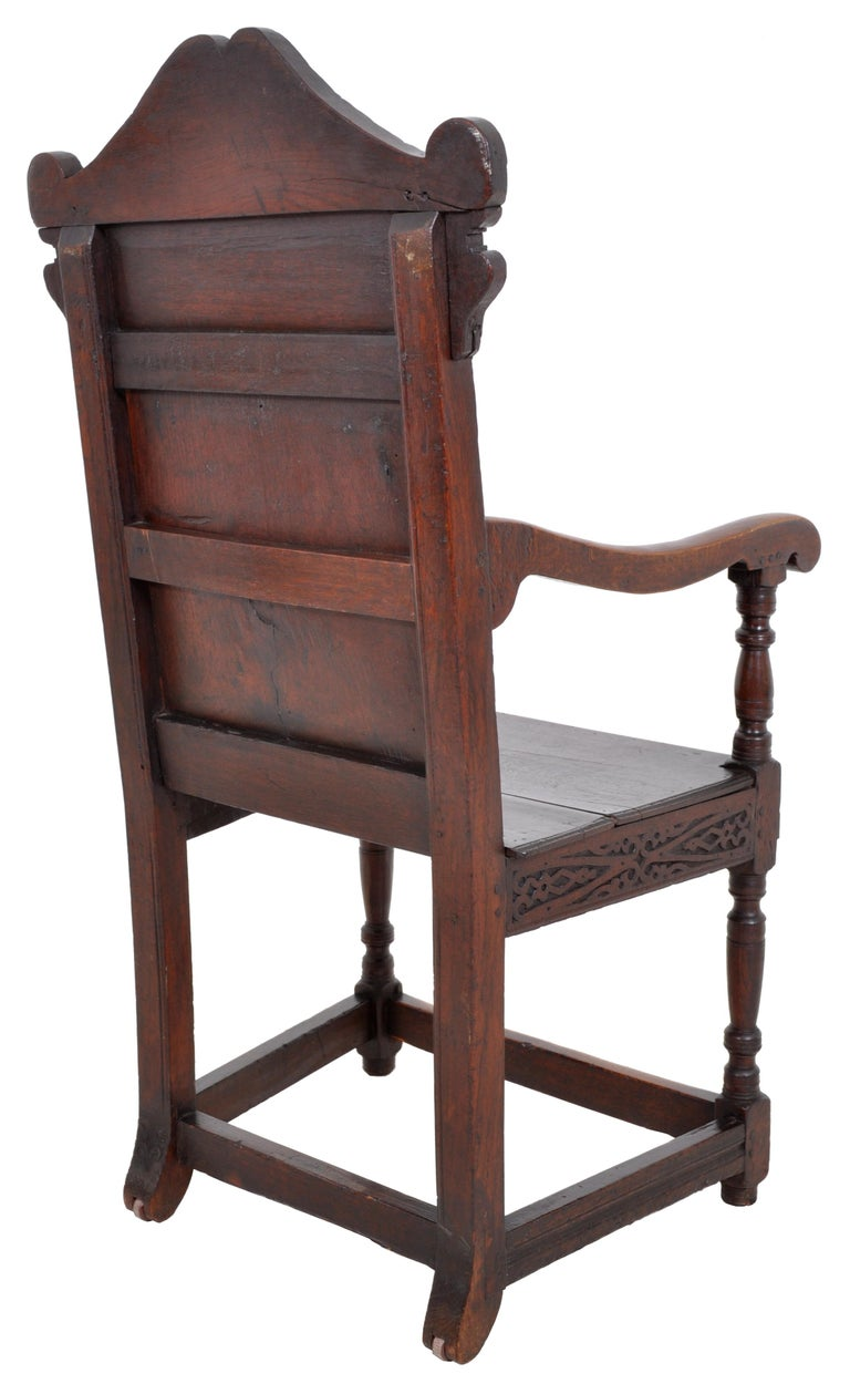 Antique 17th Century Charles II Yorkshire Carved Inlaid Oak Wainscot Chair, 1670 For Sale 4