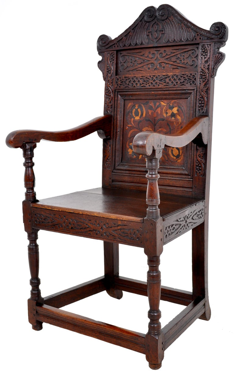 English Antique 17th Century Charles II Yorkshire Carved Inlaid Oak Wainscot Chair, 1670 For Sale