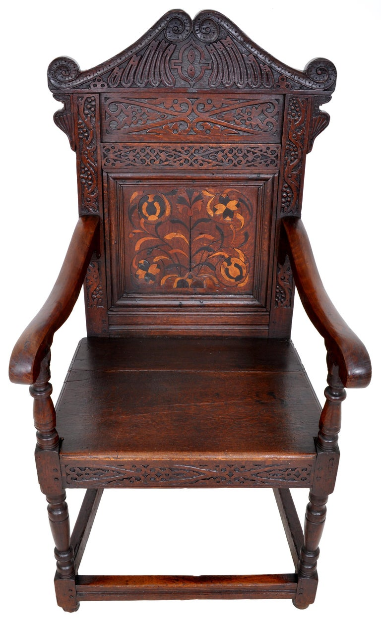 Hand-Carved Antique 17th Century Charles II Yorkshire Carved Inlaid Oak Wainscot Chair, 1670 For Sale